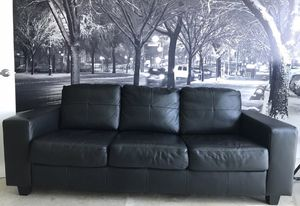 Couch real leather black 3 seater for Sale in Miami, FL
