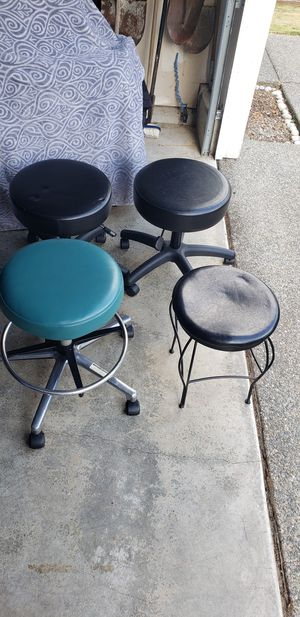 3 Adjustable Doctor-Patient Rolling Seat and 1 Decorative Mini Stool for Sale in Arlington, WA