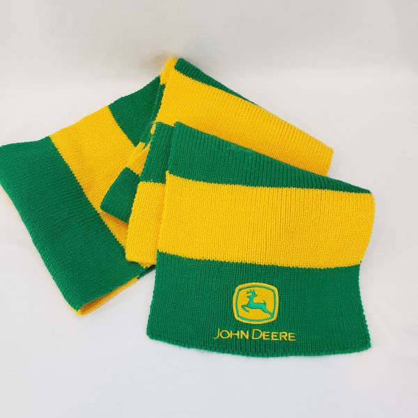 JOHN DEERE Scarf Yellow Gold Green Tractor Deer Logo