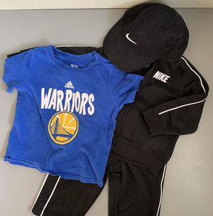 Nike Tracksuit & Baseball Cap with Warriors Tee-Shirt--12M for Sale in Pacifica, CA