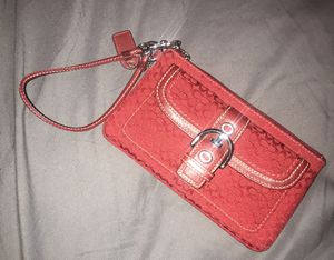 Coach Wristlet Wallet / Color: Red with Silver Buckle for Sale in Hollywood, FL