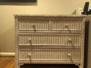 Wicker chest of drawers glass top for Sale in NJ, US
