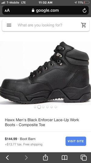 Hawx Men's Black Enforcer Lace-Up Work Boots - Composite Toe SIZE 10 for Sale in Bakersfield, CA