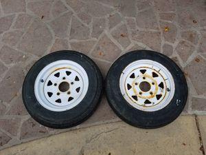 5 x 4.5 trailer rims. Tires have cracks. for Sale in Woodland Hills, CA