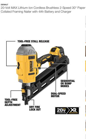 DEWALT 20v LITHIUM ION CORDLESS BRUSHLESS 30 DEGREE FRAMING NAIL GUN for Sale in Nashville, TN