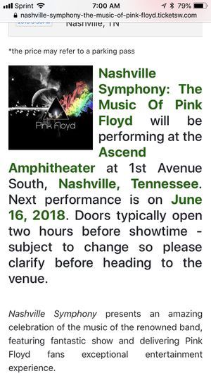 Two lawn tickets for Nashville Symphony Pink Floyd for Sale in Murfreesboro, TN