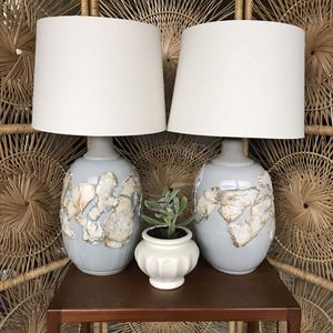 Boho Large Vintage Handmade Ceramic Lamps with Shades for Sale in Maple Valley, WA