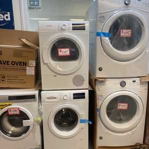 new bosch front load washer and dryer scratched and dented with 6 months warranty for Sale in Laurel, MD