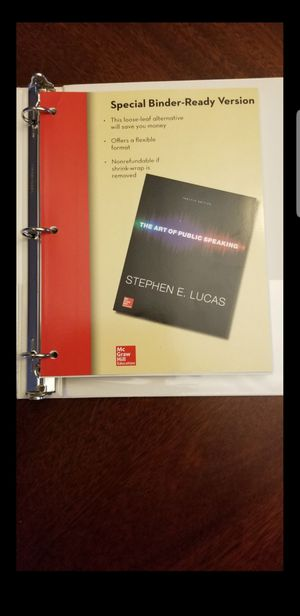 The Art of Public Speaking text book loose paper with binder by Stephen E. Lucas. for Sale in Old Mill Creek, IL
