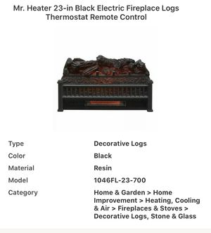 Mr Heater 23 inch Black Electric Fireplace Logs Thermostat and Remote control for Sale in Murfreesboro, TN