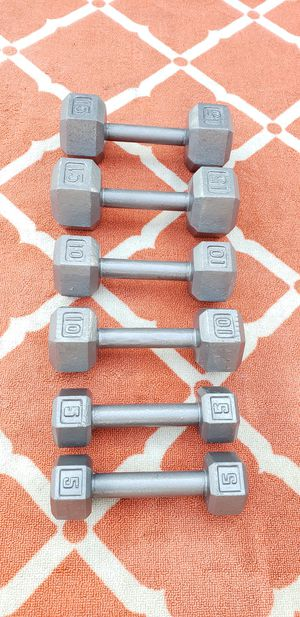 Dumbbell Set Weights 15lbs 10lbs 5lbs $125 for Sale in Chicago, IL