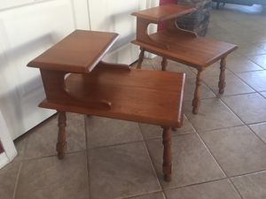 Nightstand table /Table / tables / solid carved wood end tables / side tables / nightstands / stands (both for $80 / Solid wood tables in excellent c for Sale in Glendale, AZ