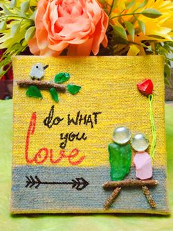 Handmade Seaglass Art on Burlap Canvas for Sale in Cypress,  TX