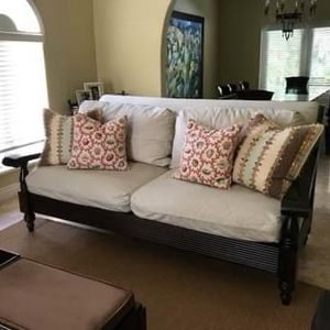 Linen and wood couch for Sale in Miami, FL