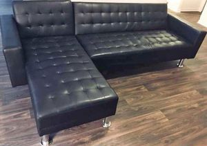 Brand New Black Leather Sofa Chaise/ Futon for Sale in Houston, TX