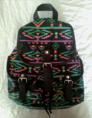 Off-Brand Black & Multi-Colored Geometric Pattern Large Canvas Backpack for Sale in Statesville, NC