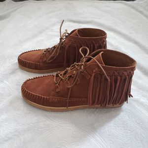 Zodiac brown genuine suede fringe booties NEW for Sale in Corona, CA