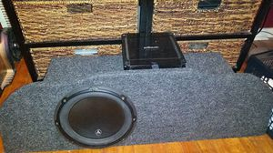 JL Audio w6 10 inch sub with custom box and Polk audio PA330 D-class amp for Sale in Oklahoma City, OK