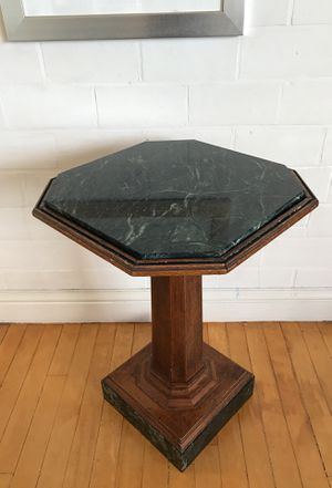 OAK PEDESTAL TABLE WITH MARBLE TOP AND BASE for Sale in San Francisco, CA