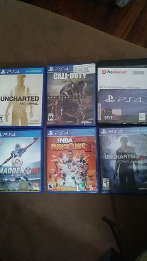 Uncharted 4,Call of duty black ops 3,Call of duty advanced warfare,Uncharted Collection,NBA 2K playgrounds 2,Madden 16 for Sale in Scott, LA
