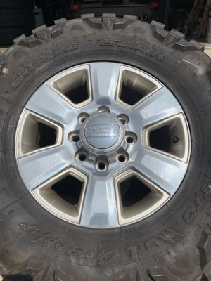 18 INCH OEM ORIGINAL DODGE RAM LONGHORN EDITION FACTORY RIMS 8 LUG 8x165 WITH TIRES for Sale in Grand Prairie, TX