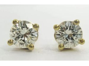 18k Yellow Gold .42ctw Natural Genuine Round Diamond Stud Earrings 4 Prong for Sale in Tampa, FL