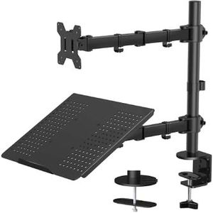 New Laptop Monitor Stand with Keyboard Tray, Adjustable Desk Mount 13-27 Laptop Holder with Clamp and Grommet Mounting Base for Sale in Pomona, CA