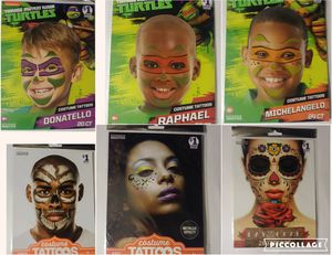 Face Tattoos Halloween Dress-Up Ninja Turtle Skull Day Of The Dead Metallic Effect Price Is For Each for Sale in Independence, KS