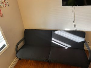 Mainstays Metal Arm Futon, Black metal frame with mattress for Sale in Fontana, CA