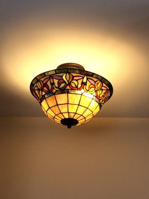 Stained glass/Rod Iron flush mount lighting for Sale in Chantilly, VA