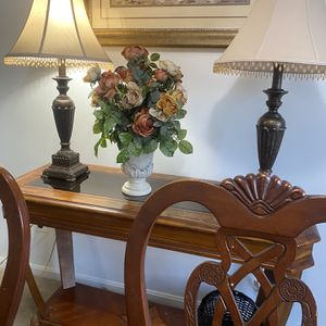 Dining table with console table lamps in picture for Sale in Falls Church, VA