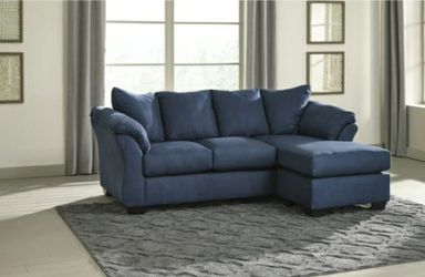 Darcy Blue Sofa Chaise 💙🦋🐬no credit CHECK 🦋🐬💕 for Sale in Houston,  TX