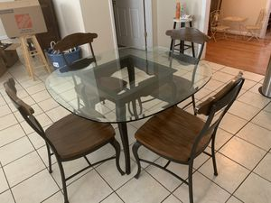 Metal and Wood Circle Kitchen Table Set with 4 Chairs for Sale in Chester, SC