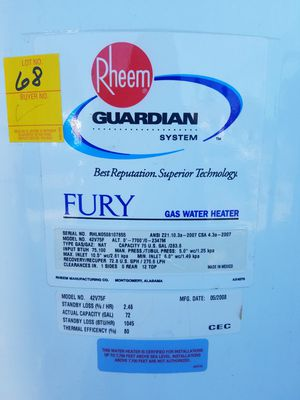 Rheem 75 gallon hot water heater for Sale in Fresno, CA