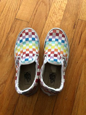Rainbow checkered vans sz 1 for Sale in Bakersfield, CA