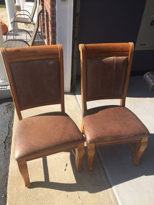 2 sturdy wooden and leather chairs for Sale in Oceanside, NY