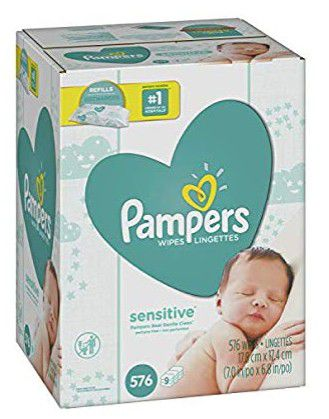 Pampers Sensitive Water-Based Baby Diaper Wipes, 9 Refill Packs for Dispenser Tub