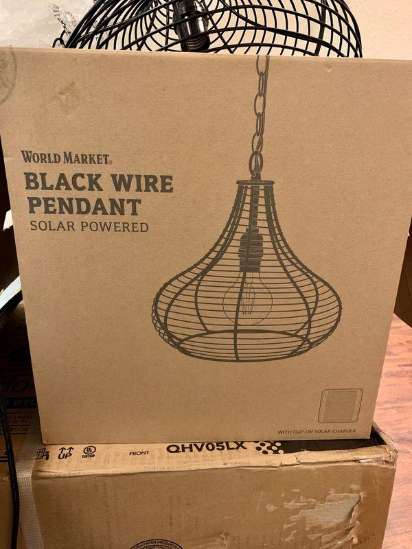 Black Wire Teardrop Solar LED Outdoor Pendant Shade