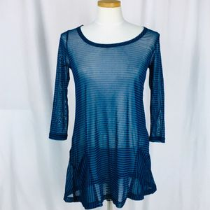LYNN RITCHIE SILVER SHEER TUNIC BLUE BLACK STRIPE for Sale in Sewell, NJ
