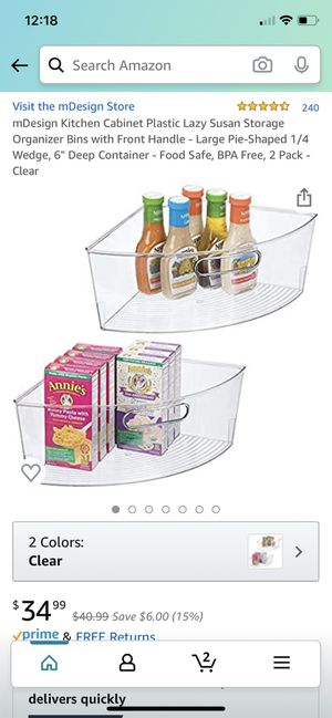 """mDesign Kitchen Cabinet Plastic Lazy Susan Storage Organizer Bins with Front Handle - Large Pie-Shaped 1/4 Wedge, 6"""" Deep Container - Food Safe, BPA for Sale in San Diego, CA"""