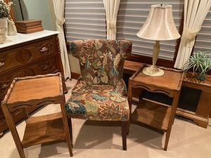 2 antique tables accent chair and lamp for Sale in Belle Vernon, PA