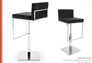 Even Plus stool with black leather and swivel metal base for Sale in Doral, FL
