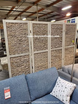 Arrow Woven 4-Panel Room Divider, Grey for Sale in Midway City, CA