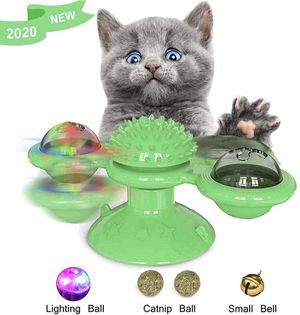 Windmill Cat Toy, 2020 Upgrade Cat Turntable Teasing Interactive Toy Portable Funny Kitten Windmill Ball Soft Silicone Scratching Tickle Cat Toy for Sale in West Covina, CA