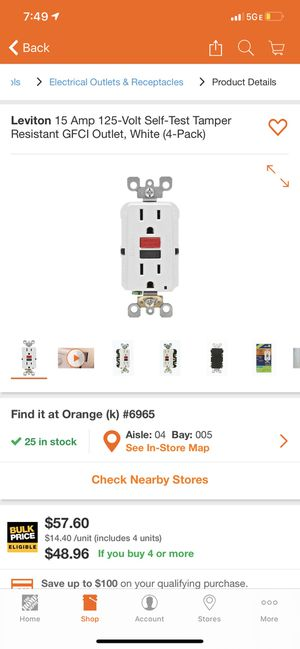 GFCI Outlets 15A-125V for Sale in Anaheim, CA