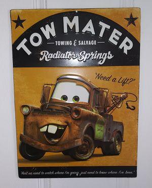 Metal Car Signs Disney Pixar collectiables Lot Of 2 Signs. for Sale in El Paso, TX