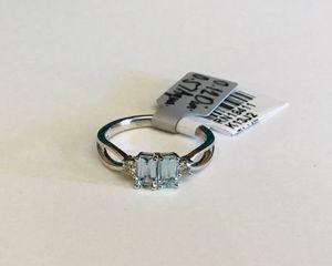 Appraised Genuine Silver Aquamarine & Diamond Ring Size 7 for Sale in Phoenix, AZ
