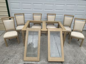Huge White Washed 2-Leaf Table + 6 Chairs for Sale in New Port Richey, FL