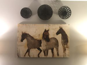 Wall Art Decor - horse painting, baskets for Sale in Fairfax, VA
