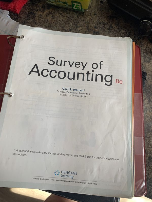 Survey of Accounting 8e